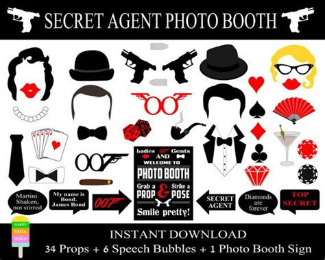 free printable casino photo booth props instant download diy printable james bond photo booth