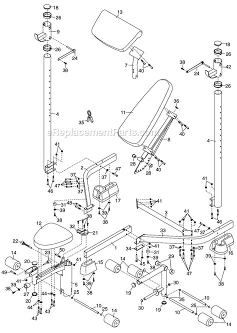 weight bench replacement parts proform 156150 parts list and diagram ereplacementparts com