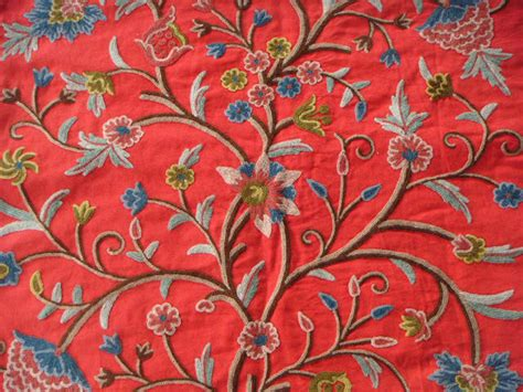exotic upholstery fabric crewel fabric tree of life multi color on exotic red
