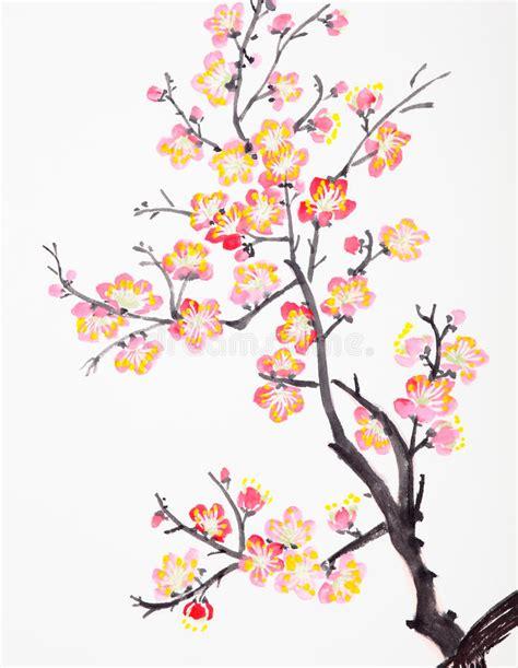 japanse tekeningen bloemen het chinese schilderen van bloemen pruimbloesem stock
