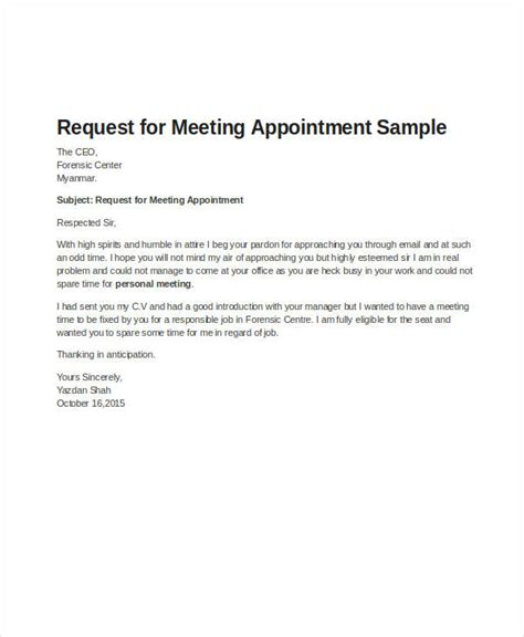 business letter sle meeting request request letter format seeking appointment fantastic