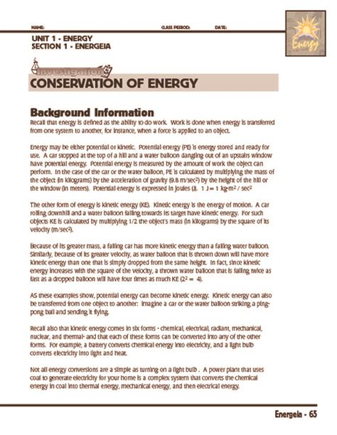 Conservation Of Energy Worksheet by Conservation Of Mechanical Energy Worksheet Photos