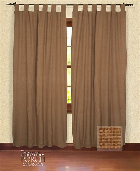 brown panel curtains cottage brown minicheck tab top window curtain panels