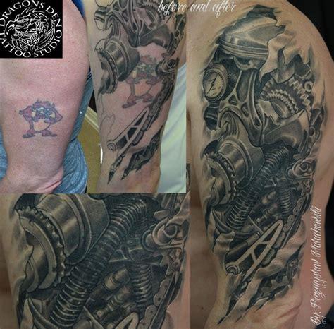 tattoo nightmares peacock bio mechanical steam punk cover up my tattoos