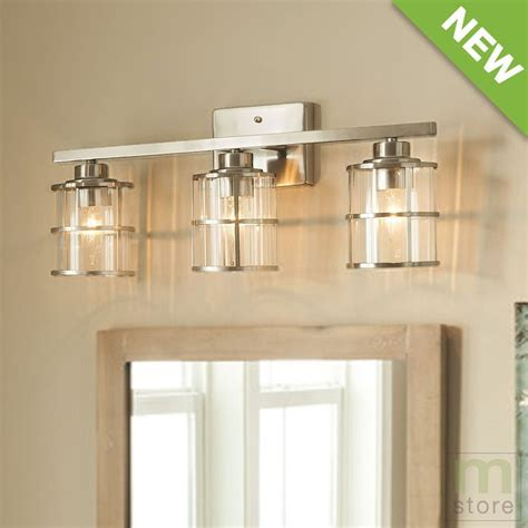 bathroom vanity light fixtures ideas bathroom vanity 3 light fixture brushed nickel cage wall lighting allen roth allen roth