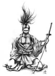 sketch of a kneeling samurai illustrations by me