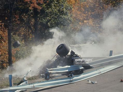 francois cevert crash overall view of guardrail collision that killed francois