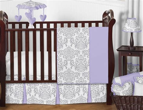 Boutique Lavender Purple Grey White Damask Bumperless Baby Purple Damask Crib Bedding