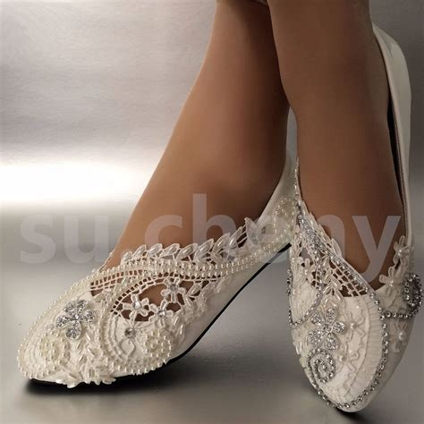 brautschuhe ballerinas ivory white ivory pearls lace wedding shoes flat