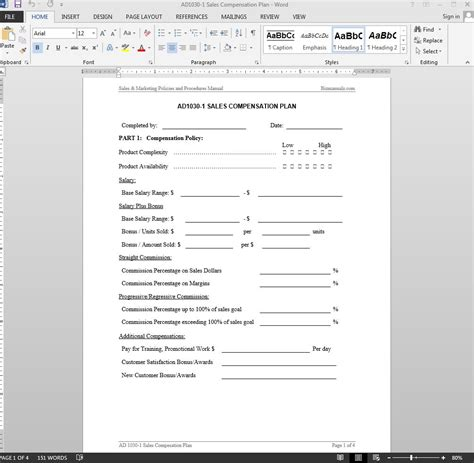 Sales Compensation Plan Template Compensation Template