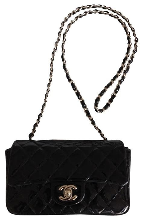 Deal Prada Leather Rectangle Handbag 60 by Chanel Classic Flap Mini Black Patent Leather Cross