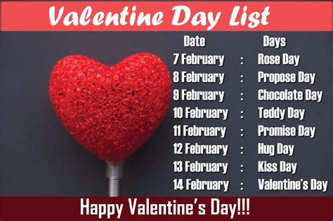 valentin day list day list 2017 week dates schedule timetable