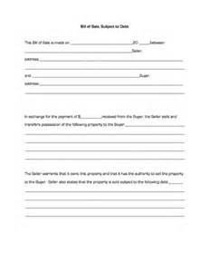 Bill of sale subject to debt business forms