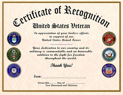 thank you card template for members of armed services certificate of appreciation template certificate of