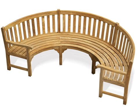 Henley Teak Curved Wooden Bench With Arms   Lindsey Teak