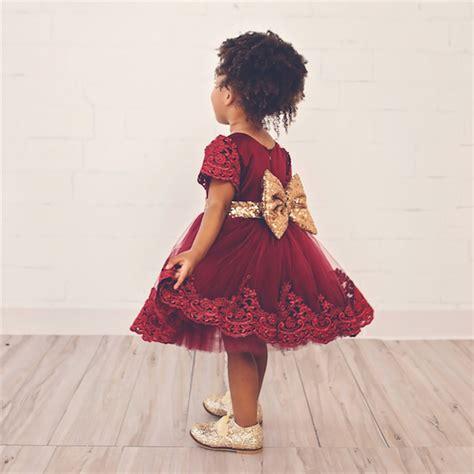 Fh Dress Kid Carista Maroon Kid 2017 burgundy lace flower kid dresses children baptism dress wedding infant dress new