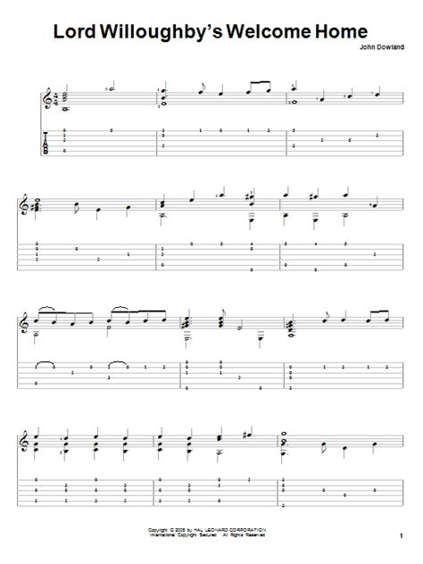 lord willoughby s welcome home guitar tab by dowland