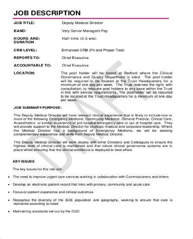 Deputy Director Description by Director Description Sle 9 Exles In Word Pdf