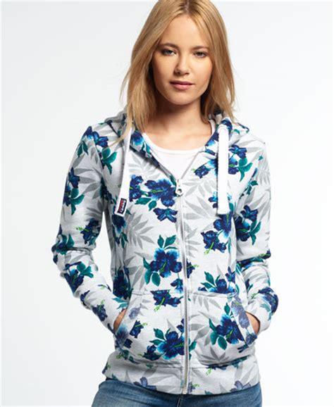 Hoodie Hodie Denim Flower Murah T2909 womens orange label all print zip hoodie in leaf print superdry