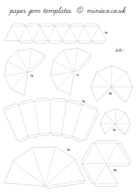 3d paper template 3d paper diamonds with template crafthubs templates