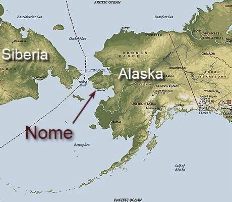 where is nome alaska on a map from russia with to nome