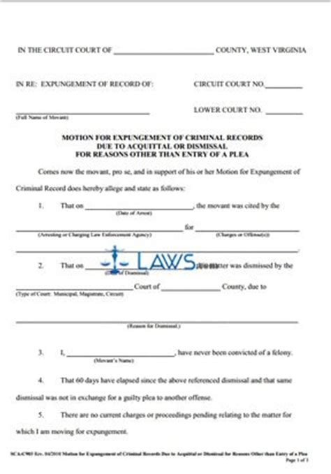 Expungement Of Criminal Record Forms Motion For Expungement Of Criminal Records Due To Acquittal Or Dismissal West
