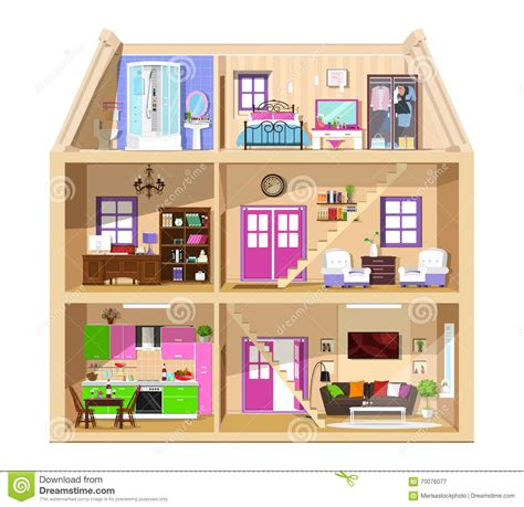 pictures of rooms in a house interior of the rooms inside the house cartoon vector