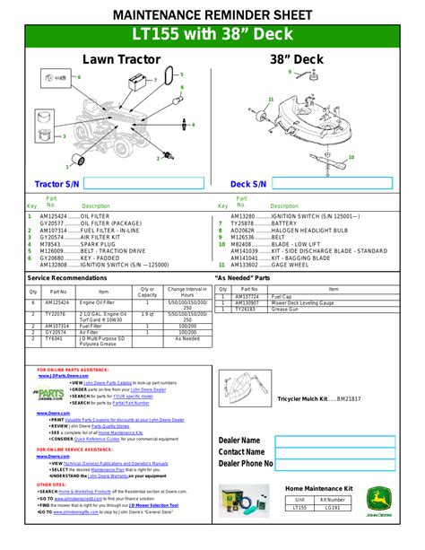 John Deere Lt155 User Manual 1 Page