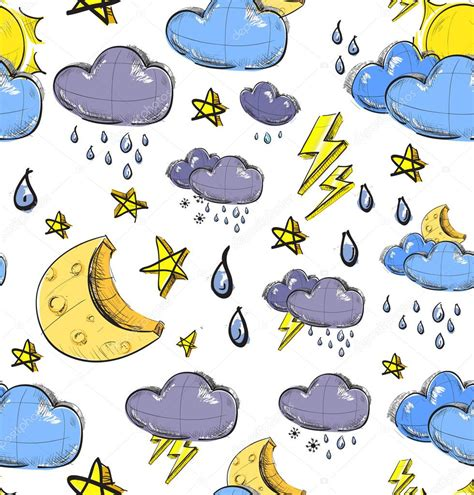 weather pattern image color sketch weather pattern seamless vector background