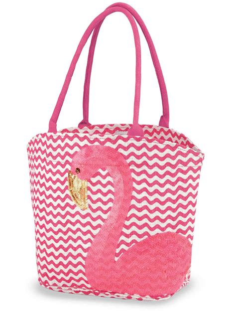 mud pie flamingo applique sequin jute tote bag purse