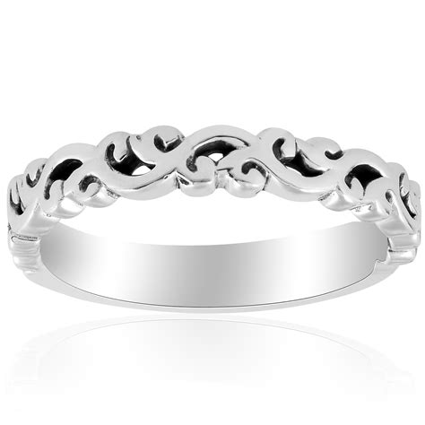 white gold hand carved womens wedding band filigree