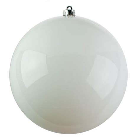 white baubles shiny shatterproof single 250mm