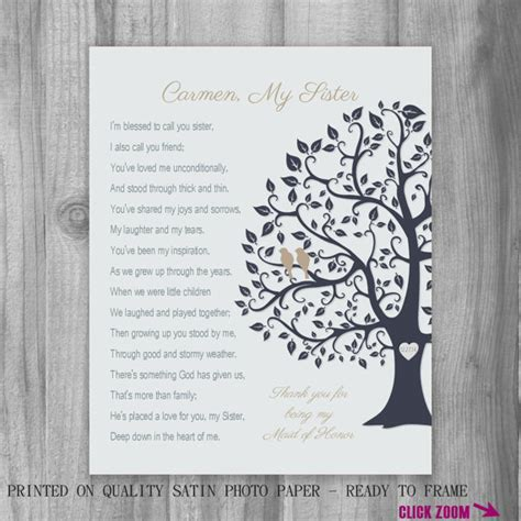 Thank You Note For Donation In Honor Gift Of Honor Thank You Personalized Print Bridesmaid Tree Birds