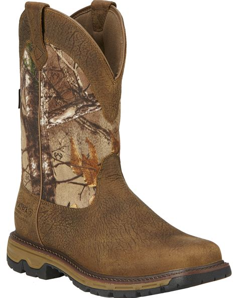 mens insulated pull on boots ariat s conquest 11 quot h20 insulated pull on