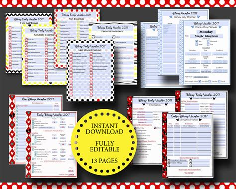 printable disneyland vacation planner disney world disneyland vacation planner kit editable digital
