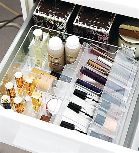 Organizing Makeup Drawers by Office Drawer Organizer