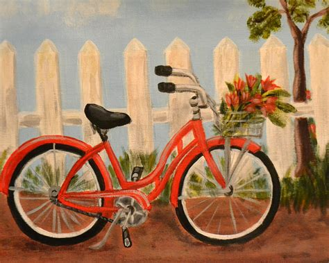 painting bike bicycle painting by nancy otey
