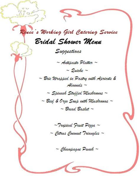 bridal shower brunch menu bridal shower brunch menu ideas 99 wedding ideas