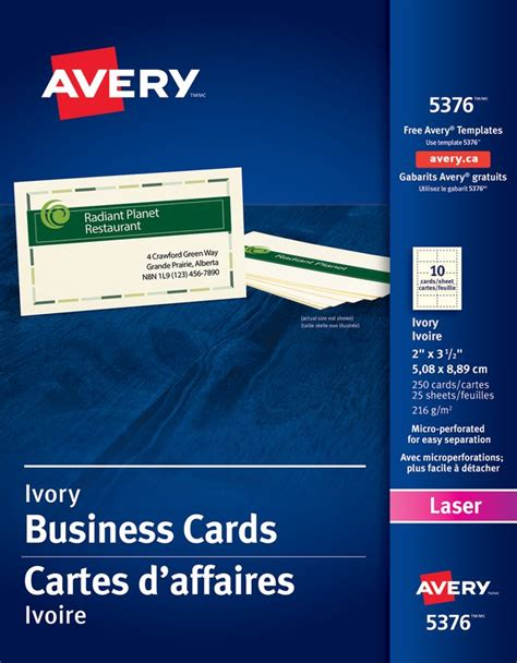 Avery 5376 Business Card Avery Business Card Template