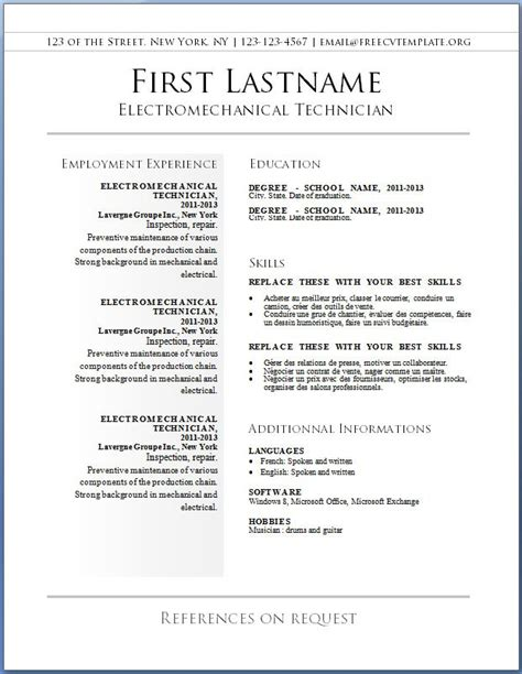 Resume Templates Uk Free Free Resume Templates Resume Cv