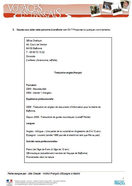 Comment Ecrit Cv Francais by Comment Ecrire Cv Fran 231 Ais Cv Francais Simple Jaoloron
