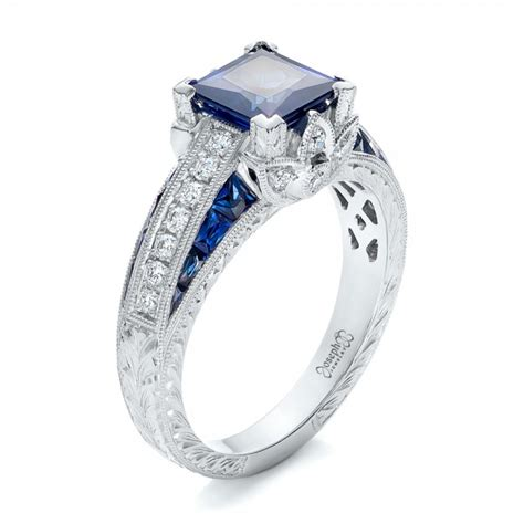 sapphire and engagement rings custom blue sapphire and engagement ring 102163