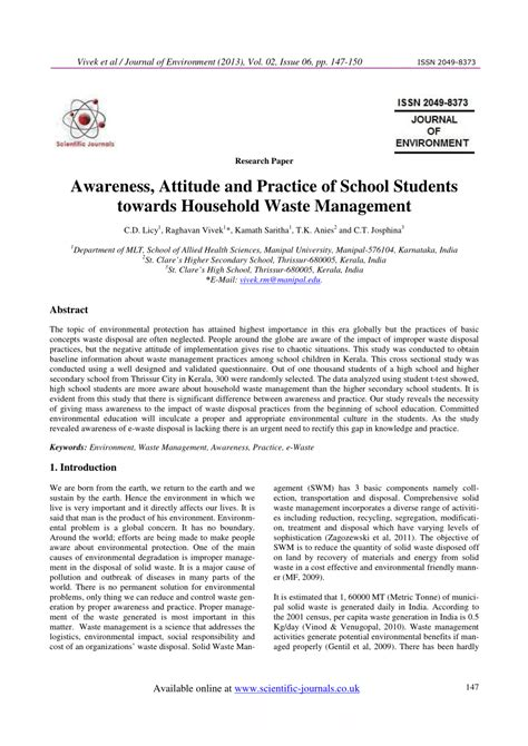 awareness attitude  practice  school students  household waste management