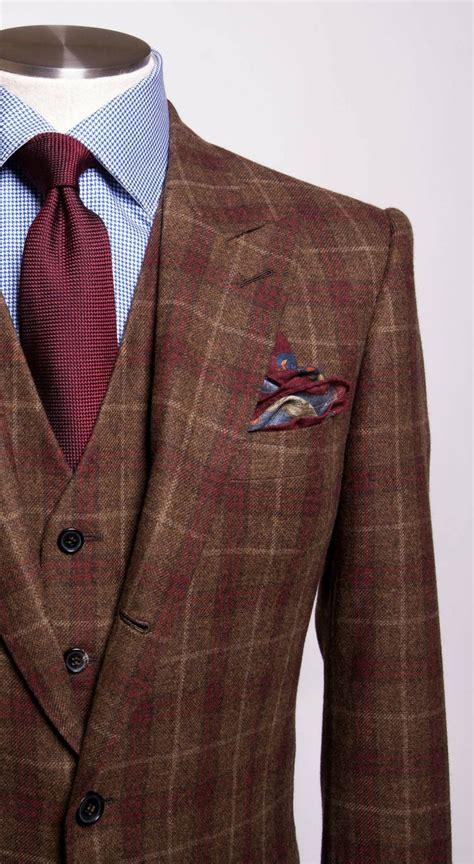 brown pattern suit brown windowpane three piece men s fashion pinterest