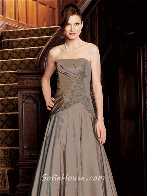 Id315 Strapless Brown Lace Dress a line strapless brown taffeta of the