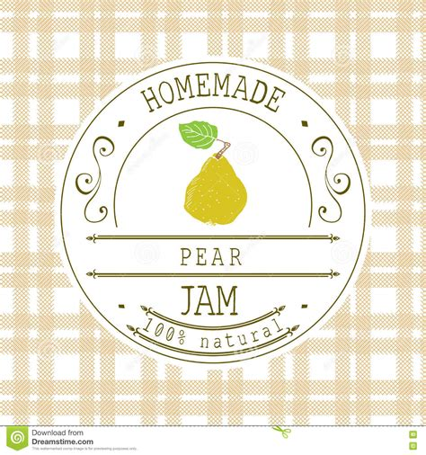 jam label design template for pear dessert product with