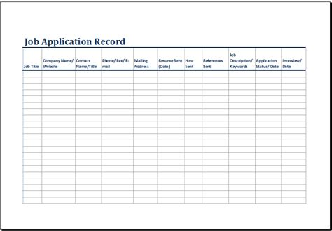 printable job application log template ms excel excel