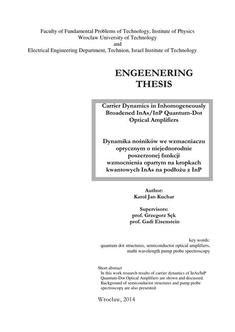 bachelor thesis advisor engeenering thesis carrier dynamics in inhomogeneously
