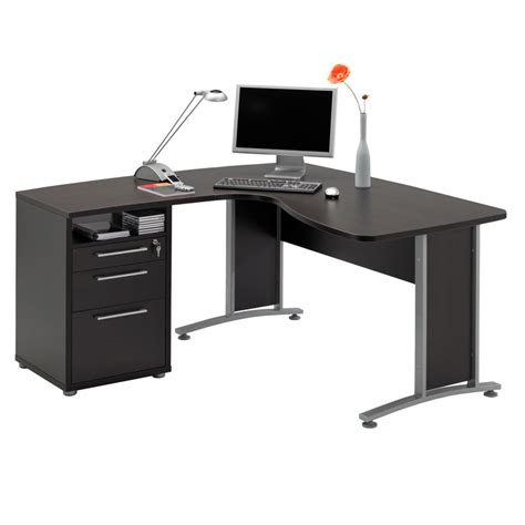 Captivating L Shaped Office Desk In Grey Tone With Drawer L Shaped Office Desks