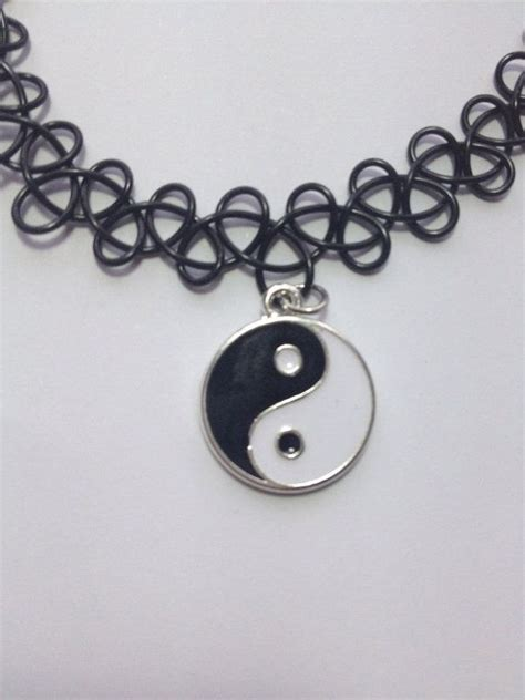 black tattoo choker yin yang black choker necklace
